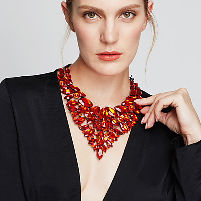 cheap ACCESSORIES-Women's Sapphire Crystal Statement Necklace Bib necklace Pear Cut Bib Chunky Statement Ladies Luxury Elegant Synthetic Gemstones Zircon Yellow Red Blue Green Rainbow Necklace Jewelry For Party