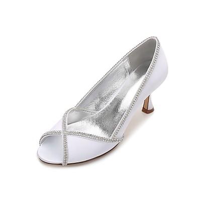 5c7761b4d4e ADOR® Women s Shoes Satin Spring   Summer Basic Pump   Comfort Wedding  Shoes Kitten Heel   Low Heel   Stiletto Heel Peep Toe Rhinestone