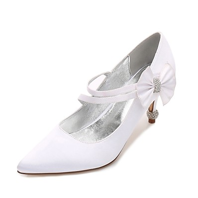 645825759 ADOR® Women's Shoes Satin Spring / Summer Comfort / Basic Pump Wedding  Shoes Kitten Heel / Cone Heel / Low Heel Pointed Toe Rhinestone /