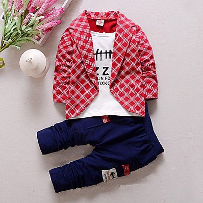 cheap Boys' Clothing-Toddler Kid's Boys' T shirt Suit & Blazer Clothing Set Plaid Patchwork Letter Long Sleeve 3 Pieces Party Casual Red Yellow Gray Outfits Check Regular 1-5 Years