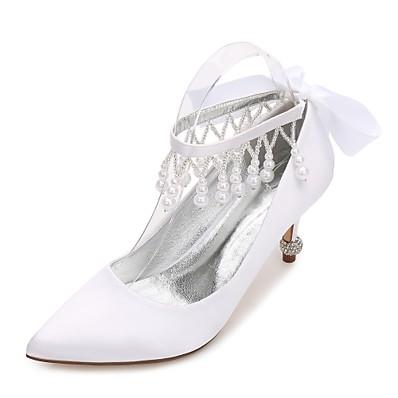 2f1e27a1b ADOR® Women's Shoes Satin Spring Summer Comfort Basic Pump Wedding Shoes  Kitten Heel Cone Heel Low Heel Stiletto Heel Pointed Toe Rhinestone