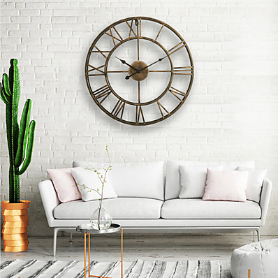 cheap Wall Clocks-Wall Clock, 20'' Round Centurian Classic Metal Wrought Iron Roman Numeral Style Home Decor Analog Metal Clock 50cm*50cm