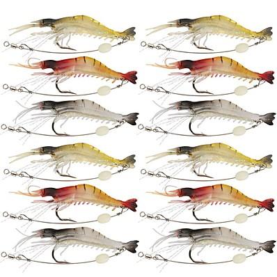 abordables Pêche-12 pcs leurres souples Leurre souple Jerkbaits Ecrevisses / Crevette Lumineux Flottant Bass Truite Brochet Pêche en mer Pêche à la mouche Pêche d'appât