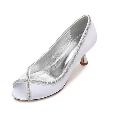 23a8d1a9369 ADOR® Women s Shoes Satin Spring   Summer Comfort   Basic Pump Wedding  Shoes Kitten Heel   Low Heel   Stiletto Heel Peep Toe Rhinestone