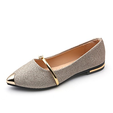 cheap Flats-Women's Flats Comfort Shoes Flat Heel Pointed Toe Sweet Dress Walking Shoes PU Pearl Sparkling Glitter Buckle Solid Colored Summer Black Gold Silver / EU39