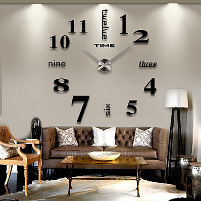 cheap Home Decor-Modern Contemporary Stainless Steel / EVA Round Romance Indoor / Outdoor AAA Decoration Wall Clock Digital Brushed Steel No 120*120cm