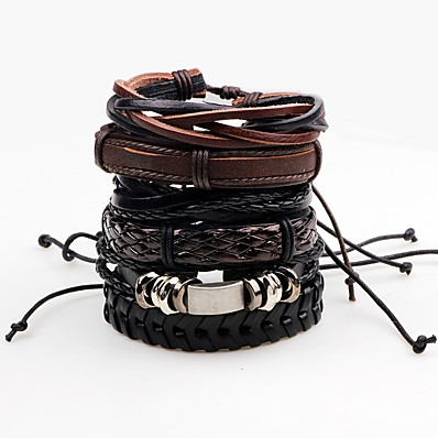 cheap Men's Jewelry-Men's Wrap Bracelet Leather Bracelet Rope Twisted woven Rock Paracord Bracelet Jewelry Black For Stage Club