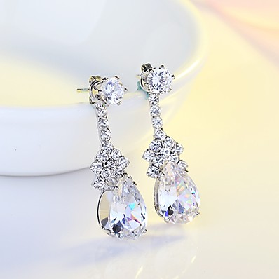c7ec133a1 ADOR Women's AAA Cubic Zirconia Drop Earrings - Cubic Zirconia, Silver Drop  Classic, Elegant Silver For Wedding Evening Party