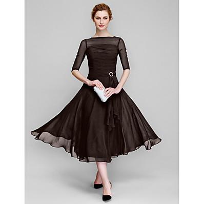 cheap Mother of the Bride Dresses-A-Line Bateau Neck Tea Length Chiffon Half Sleeve Elegant Mother of the Bride Dress with Ruched 2020 / Illusion Sleeve