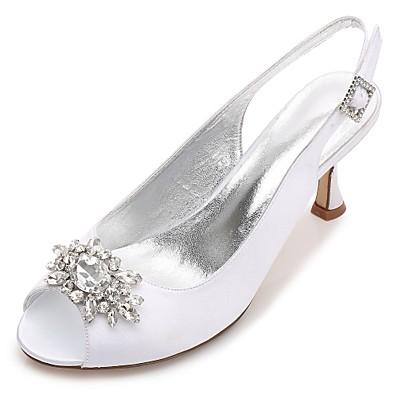 9cd3a3070 ADOR® Women's Shoes Satin Spring / Summer Comfort / Basic Pump Wedding  Shoes Kitten Heel / Cone Heel / Low Heel Round Toe / Peep Toe Rhinestone