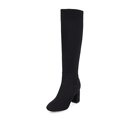 cheap SHOES-Women's Boots Knee High Boots Block Heel Round Toe Casual Vintage Daily Solid Colored Leatherette Knee High Boots Winter Black Red Dark Blue / EU39