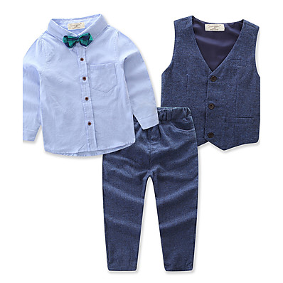 cheap NewIn-Boys' Active Party Daily Solid Colored Long Sleeve Regular Regular Clothing Set Blue