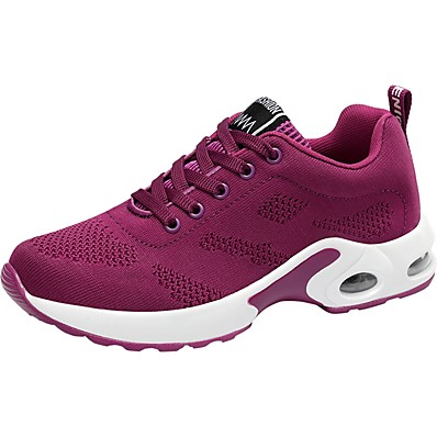 cheap Sneakers-Women's Trainers Athletic Shoes Comfort Shoes Sporty Daily Going out Outdoor Running Shoes Walking Shoes Knit Solid Colored Black Purple Red