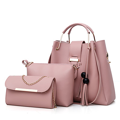 cheap Bags-Women's Bags PU Leather Bag Set 3 Pcs Purse Set Zipper Tassel Bag Sets Shopping White Black Red Blushing Pink