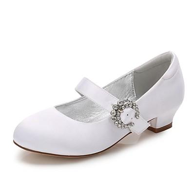 34efb5500b47 ADOR® Girls  Shoes Satin Spring   Fall Comfort   Ballerina   Ankle Strap  Heels Rhinestone   Sparkling Glitter   Buckle for White   Ivory