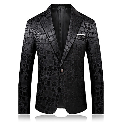 cheap Men's Outerwear-Men's Party / Daily / Holiday Sophisticated Spring &  Fall / Fall / Winter Regular Blazer, Solid Colored Notch Lapel Long Sleeve Cotton / Polyester Black / Business Casual