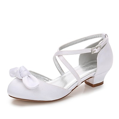 658961da00a ADOR® Girls  Shoes Silk Spring T-Strap   Ballerina   Ankle Strap Heels  Bowknot   Appliques   Buckle for White   Ivory   Wedding