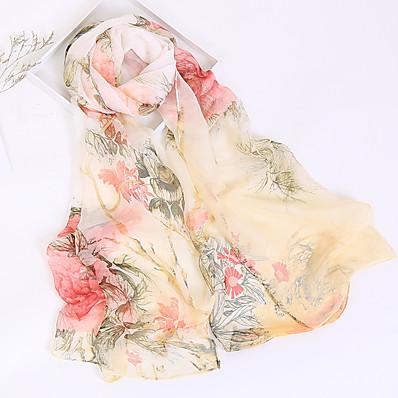 cheap Scarves & Bandanas-Women's Chiffon Rectangle Scarf - Floral Print