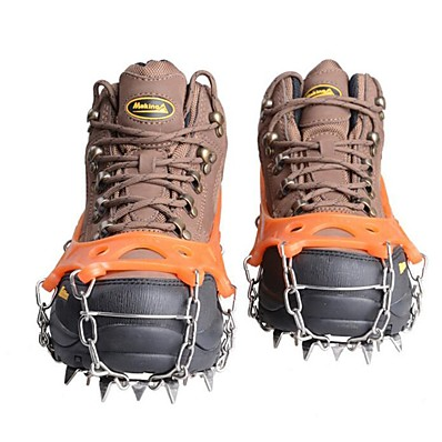 cheap Camping, Hiking & Backpacking-Traction Cleats Climbing Protection Crampons Outdoor Non-Slip Metal Alloy Rubber Silica Gel Hiking Climbing Outdoor Exercise 17.5*16.8 cm Black Orange Navy Blue