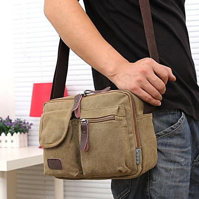 cheap Bags-Men's Bags Canvas Shoulder Messenger Bag Crossbody Bag Vintage Canvas Bag Daily Black Khaki Green Coffee