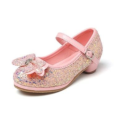 b4c2b0ef99b9 ADOR® Girls  Shoes Glitter Spring   Fall Comfort   Flower Girl Shoes   Tiny  Heels for Teens Heels Rhinestone   Bowknot   Magic Tape for Silver