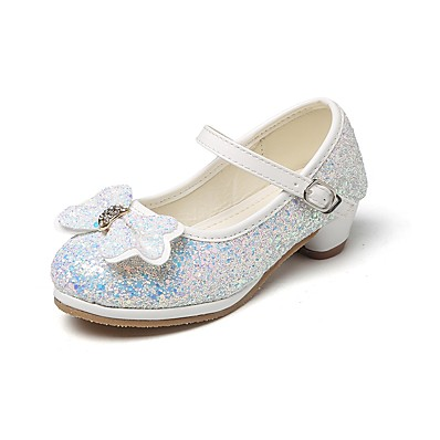 ADOR® Girls  Shoes Glitter Spring   Fall Comfort   Flower Girl Shoes   Tiny  Heels for Teens Heels Rhinestone   Bowknot   Magic Tape for Silver 1e4e5331b0a2