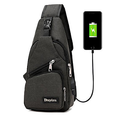 cheap Men's Bags-Men's Zipper Nylon Sling Shoulder Bag Black / Gray / Purple