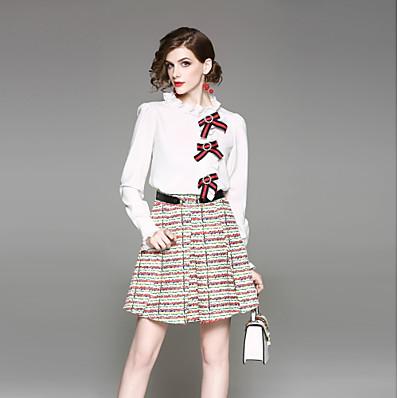 cheap Two Piece Set-Women's Going out Street chic Shirt Print Skirt