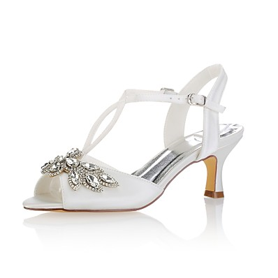 1f0c4a7ca5a ADOR® Women s Shoes Stretch Satin Summer Basic Pump Wedding Shoes Low Heel  Peep Toe Crystal   Buckle Ivory   Party   Evening