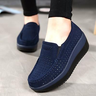 cheap Pumps & Heels-Women's Loafers & Slip-Ons Wedge Heel Round Toe Cowhide Comfort Summer / Fall Black / Red / Dark Blue / EU40