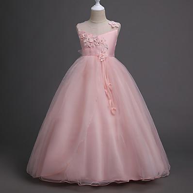 cheap Kids-Kids Little Girls' Dress Floral Party Layered Jacquard Purple Blushing Pink Green Cotton Sleeveless Sweet Dresses Spring Summer Slim