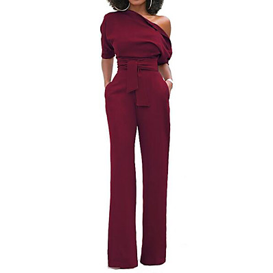 cheap Jumpsuits-Women's Wide Leg Kentucky Derby One Shoulder Wine Purple Yellow Wide Leg Slim Jumpsuit Onesie, Solid Colored S M L Short Sleeve Spring Summer