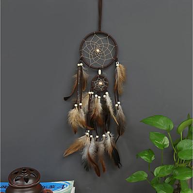 cheap Wall Hangings-Boho Dream Catcher Handmade Gift Wall Hanging Decor Art Ornament Craft Feather Hemp 55*11cm For Kids Bedroom Wedding Festival