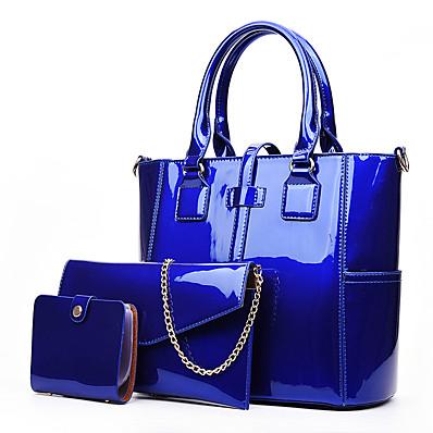 cheap Bags-Women's Bags Bag Set PU Leather Patent Leather Zipper 3 Pcs Purse Set Shopping Bag Sets Handbags Black Blue Purple Red