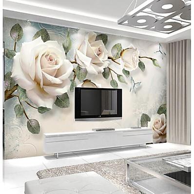 cheap Wall Art-Wallpaper 3D Photo Art Mural Wall Covering Light Pink Rose Flower Decoration Décor Living Room Bedroom Dorm