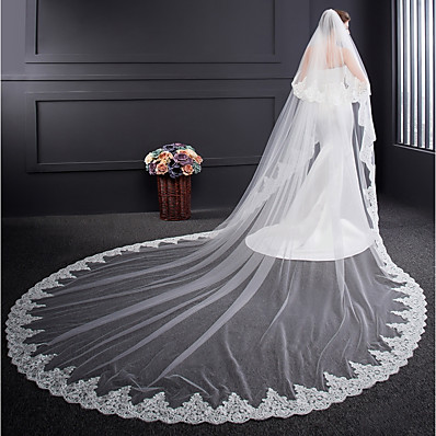 cheap Wedding Accessories-Two-tier Voiles & Sheers / Embroidery Wedding Veil Cathedral Veils with Embroidery Tulle / Classic