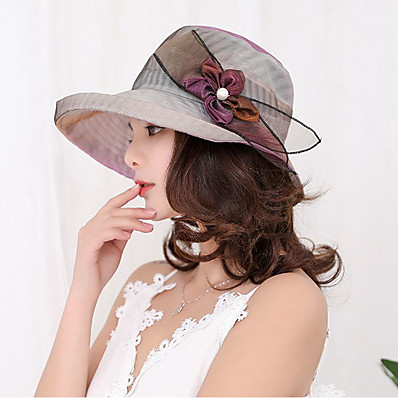 cheap Women's Jewelry-Women's Party Hat Flower Lace Party Wedding Street Beige Purple Solid Colored Hat / Fabric / Fall / Winter / Spring / Summer