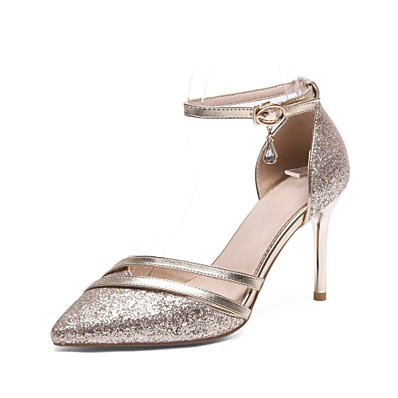 cb1f9c3d8875 ADOR® Women s Shoes Sparkling Glitter Spring   Summer Ankle Strap Heels  Stiletto Heel Pointed Toe Rhinestone   Buckle Silver   Gray   Pink