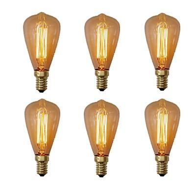 cheap Light Bulbs-6pcs 40W E14 ST48 Incandescent Vintage Edison Light Bulb Warm White 2200-2700k Retro Dimmable Reproduction for Candle Pendant Light Chandelier 220-240V