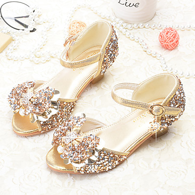 59a5f6f15cea ADOR® Girls' Shoes Sparkling Glitter Summer Novelty / Flower Girl Shoes  Sandals Bowknot / Sequin / Buckle for Gold / Silver / Pink
