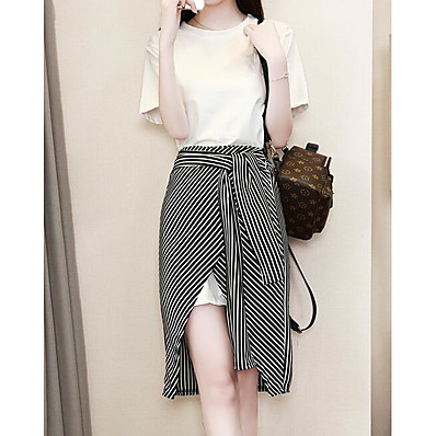 cheap Two Piece Set-Women's Plus Size Daily Basic Puff Sleeve Blouse - Solid Colored Striped, Print Skirt / Summer / Fine Stripe