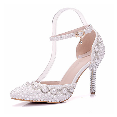 fb47db6bfdf ADOR® Women s Shoes PU(Polyurethane) Spring   Fall Comfort   Novelty  Wedding Shoes Stiletto Heel Pointed Toe Rhinestone   Pearl   Buckle White