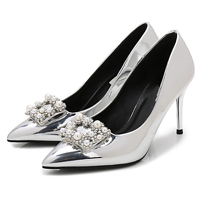 26b0720ab46 ADOR® Women s Shoes Patent Leather Spring   Fall Basic Pump Heels Stiletto  Heel Pointed Toe Rhinestone   Imitation Pearl Silver