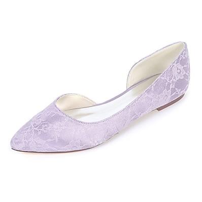 cf7708db4a0 ADOR® Women s Shoes Satin Spring   Summer Ballerina Flats Flat Heel Pointed  Toe Green   Blue   Ivory   Wedding   Party   Evening