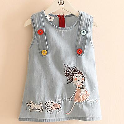 cheap Kids-Toddler Little Girls' Dress Print Color Block Daily Weekend Print Light Blue Above Knee Cotton Sleeveless Dresses Summer Regular Fit / Cute