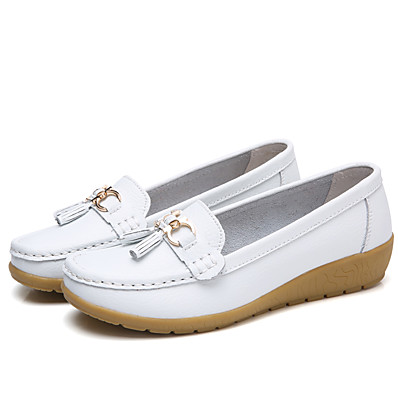 cheap Flats-Women's / Unisex Loafers & Slip-Ons Flat Heel Round Toe Button Leather / PU Booties / Ankle Boots Sweet / Minimalism Walking Shoes Spring & Summer / Fall & Winter Black / Light Blue / White