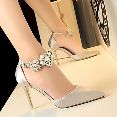cheap Pumps & Heels-Women's Heels Glitter Crystal Sequined Jeweled Stiletto Heel Basic Pump Office & Career Satin Summer Black Red Blue / EU36