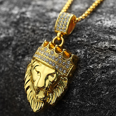 cheap Men's Jewelry-Men's Cubic Zirconia Pendant Necklace Engraved franco chain Lion King Crown Personalized Rock Hip-Hop Dubai 18K Gold Plated Yellow Gold Imitation Diamond Gold Golden Lion 2 Golden Lion 3 Golden Lion