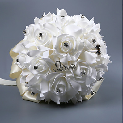 cheap Wedding Accessories-Wedding Flowers Bouquets Wedding Silk Like Satin / Beaded / Foam 11-20 cm
