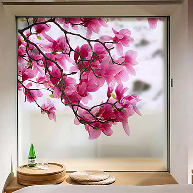 cheap Wall Stickers-Window Film & Stickers Decoration Matte / Contemporary Flower / Floral PVC(PolyVinyl Chloride) Window Sticker / Matte 68*60cm